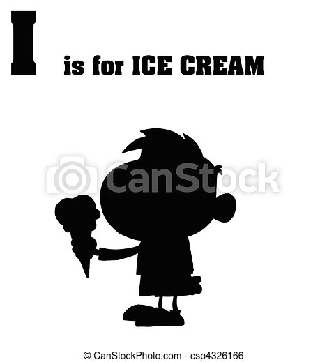 Silhouetted Boy Eating Ice Cream - csp4326166