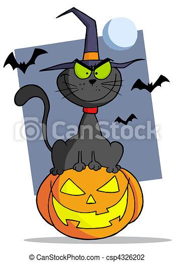 Illustrazioni vettoriali di gatto halloween cartone for Gatto clipart