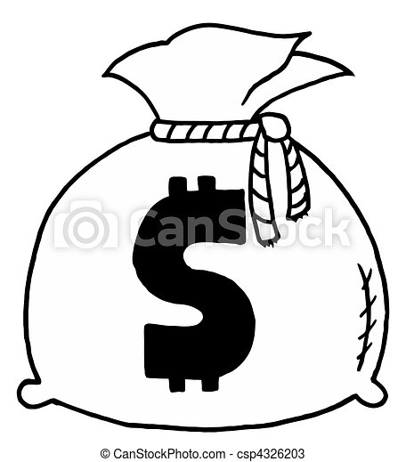 Outlined Money Bag - csp4326203