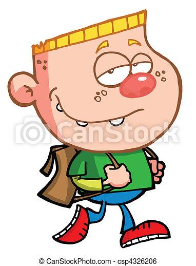 Blond Boy Walking To School - csp4326206