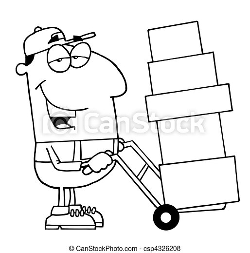 Outlined Delivery Guy - csp4326208