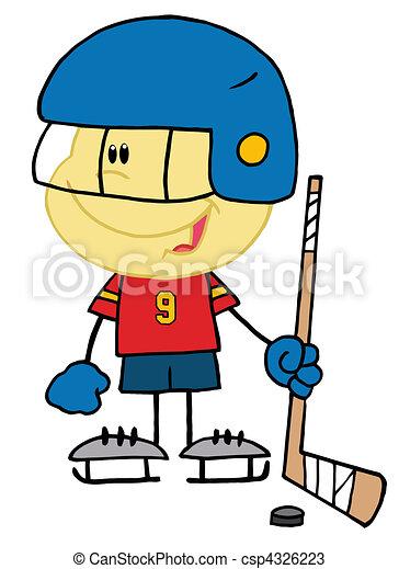Caucasian Boy Playing A Hockey - csp4326223