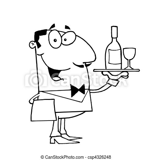 Outlined Butler Serving Wine - csp4326248