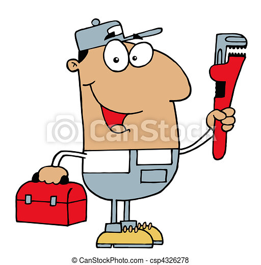 Hispanic Plumber Man - csp4326278