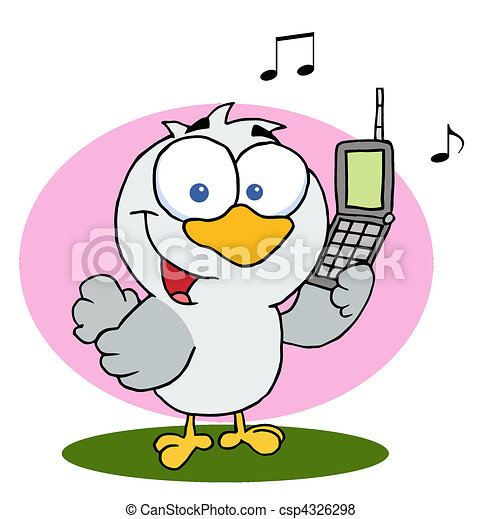 Calling Bird Holding A Cell Phone - csp4326298