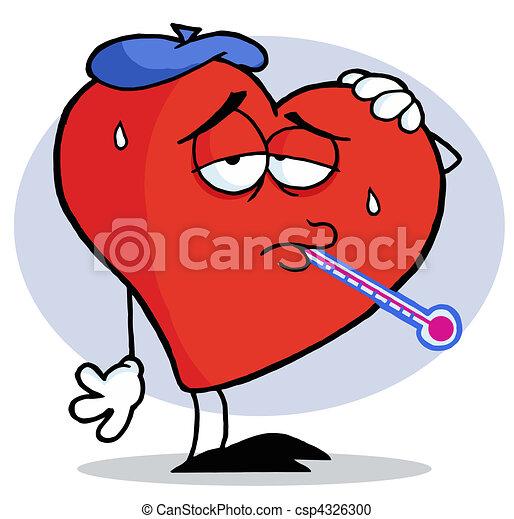 Flu Ridden Red Heart - csp4326300