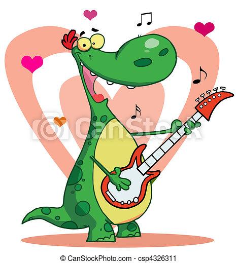 Dinosaur plays guitar - csp4326311