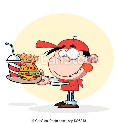 Boy Eating Fast Food  - csp4326313
