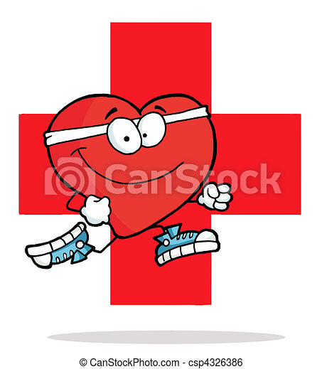Red Heart Jogging Over A Red Cross - csp4326386