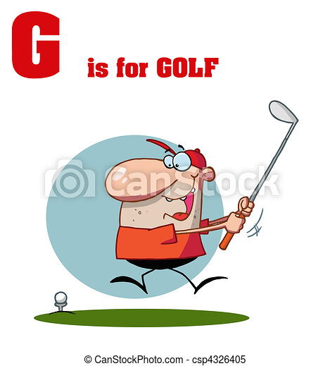 Male Golfer With G Is For Golf Text - csp4326405