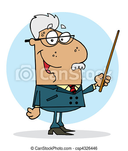 Professor Man Holding A Pointer - csp4326446