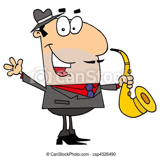 Caucasian Cartoon saxophonist Man - csp4326490