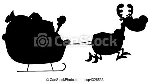 Reindeer Pulling Santas Sleigh - csp4326533