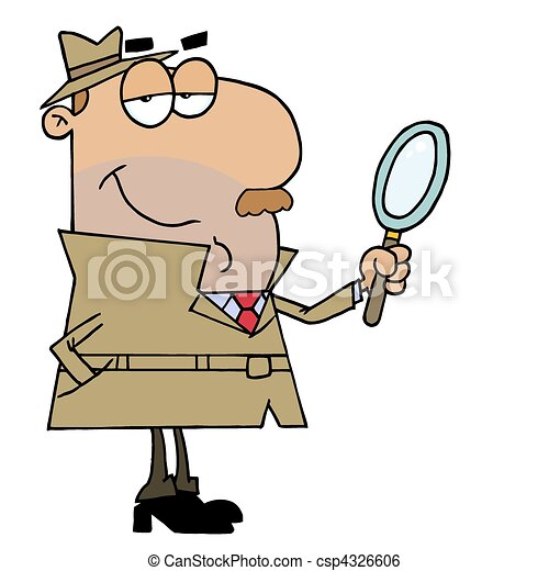 Hispanic Cartoon Detective Man - csp4326606