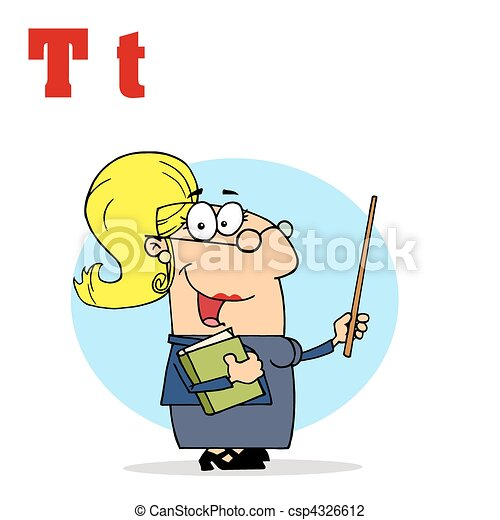 Female Teacher With Letters T