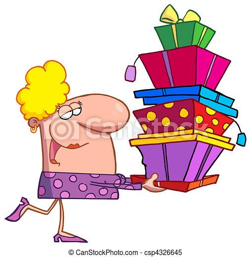 Happy holidays blond lady shopper  - csp4326645