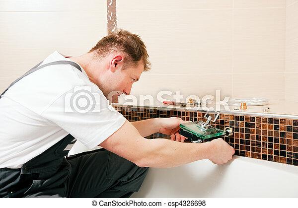 encanador, instalar, misturador, torneira, banheiro - csp4326698