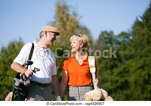 Senior couple playing Golf - csp4326907