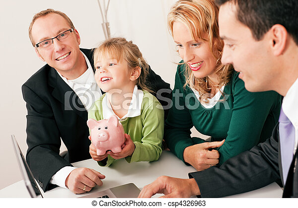 Family with consultant - finance and insurance - csp4326963