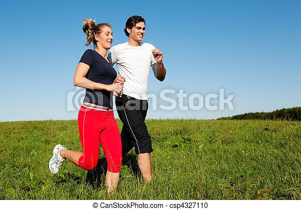 sport couple jogging outdoors in summer - csp4327110