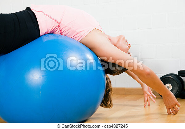 Woman and fitness ball - csp4327245
