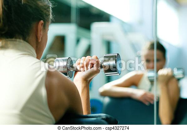 Dumbbells, training, mirror - csp4327274