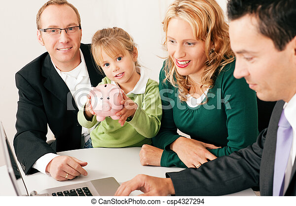 Family with consultant - finance and insurance - csp4327294
