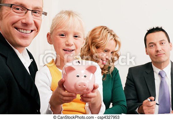 Family with consultant - finance and insurance - csp4327953