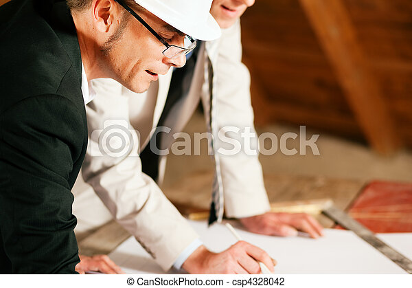 Architect and construction engineer discussing plan - csp4328042
