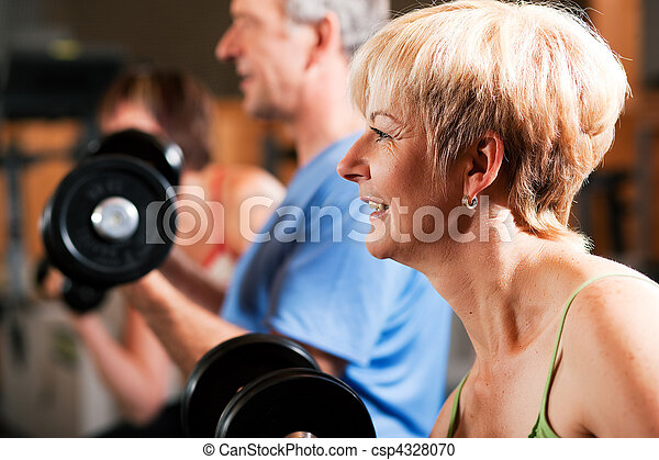 Three senior people in gym - csp4328070