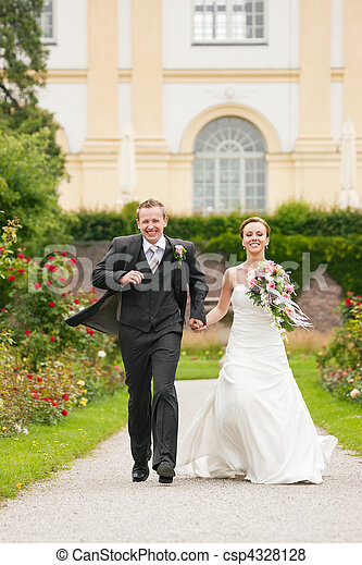 Wedding - bride and groom in a park - csp4328128