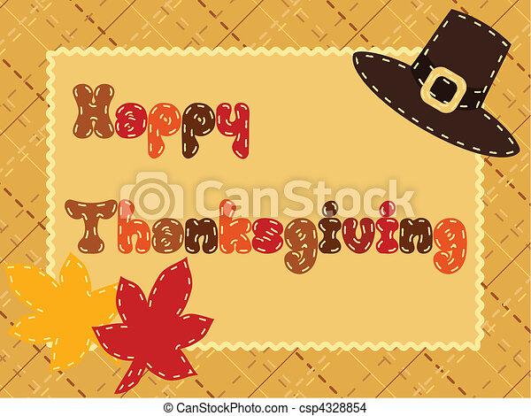 Thanksgiving card with pilgrim hat - csp4328854