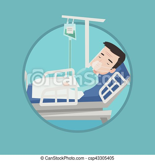 Vector Clipart of Patient lying in hospital bed with oxygen mask ...