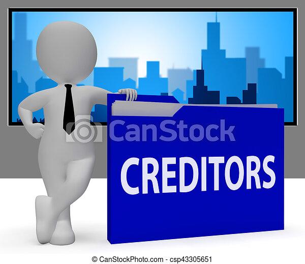 貸しなさい, 3d, レンダリング, フォルダー, 負債, 債権者, ショー. 貸し付け ...