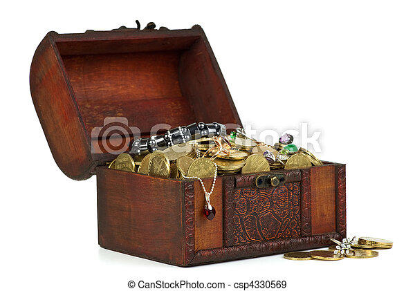Treasure: wooden chest with golden coins, gems, rings, e.t.c. - csp4330569