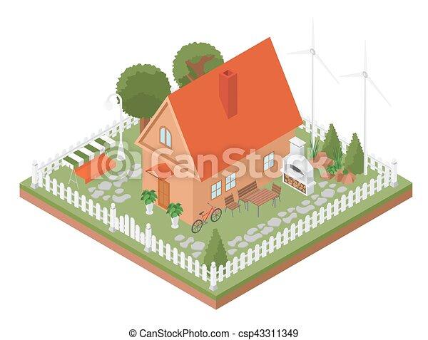 Haus bauen clipart  EPS Vektor von landkarte, isometrisch, eigen, stadt, haus, natur ...