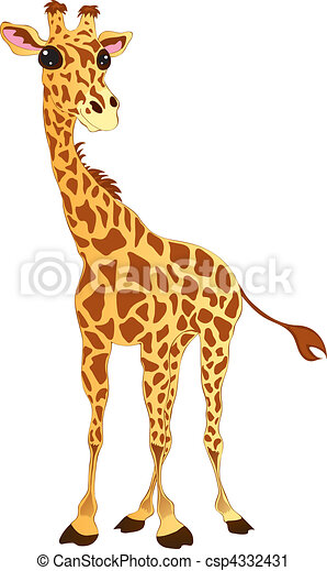 Kliparty wektorowe yrafa csp4332431 szukaj kliparty - Dessin de girafe en couleur ...