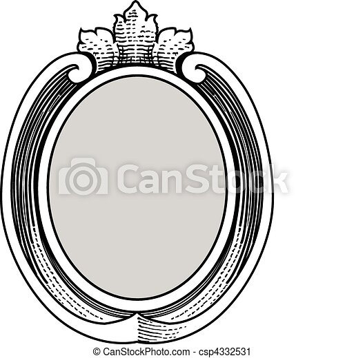 Vector Ornate Oval Frame - csp4332531
