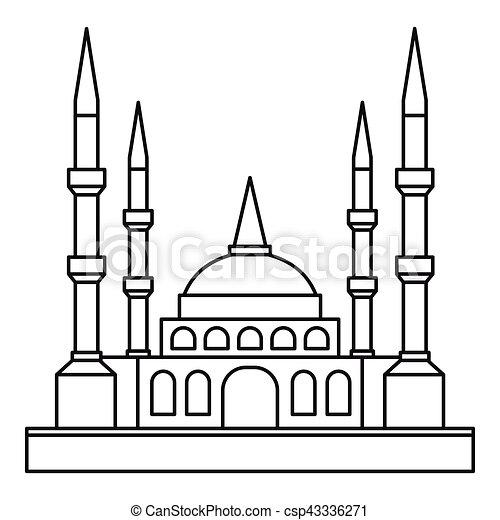 vector illustratie van pictogram  stijl  moslim  moskee  schets moslim  moskee  csp43336271 line clipart of a monkey line clip art borders