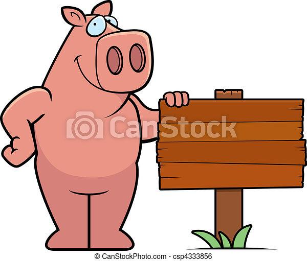 Clip art vecteur de cochon signe a heureux dessin - Dessin cochon debout ...