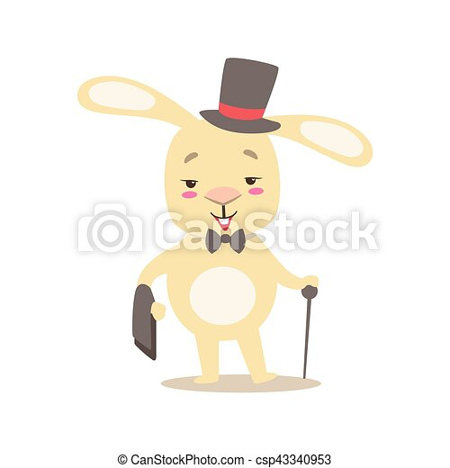 Little Girly Cute White Pet Bunny In Gentleman Costume With Top Hat, Cartoon Character Life Situation Illustration - csp43340953