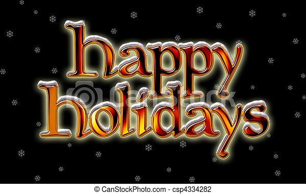 Happy Holidays Clip Art Black