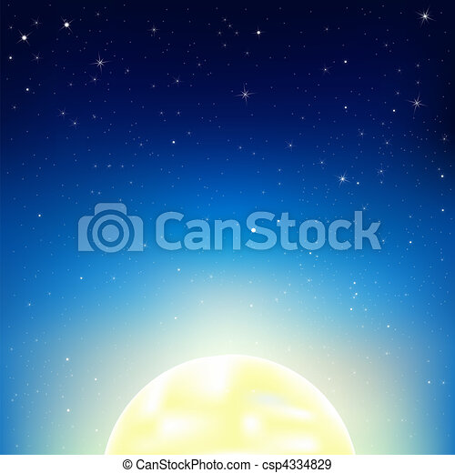 Night Sky With Moon - csp4334829