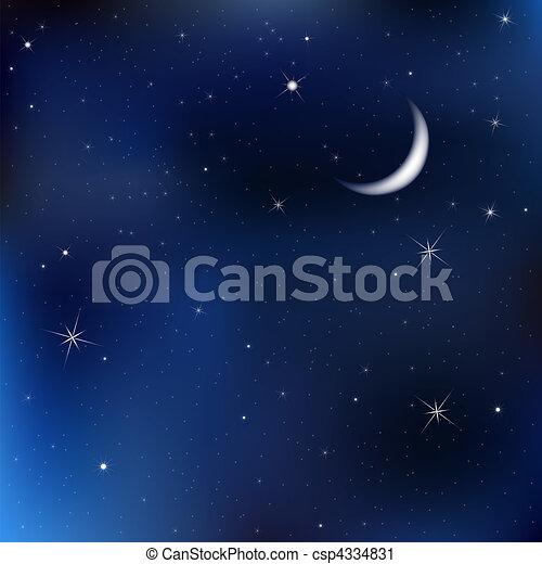 noturna, céu, com, lua, e, estrelas - csp4334831