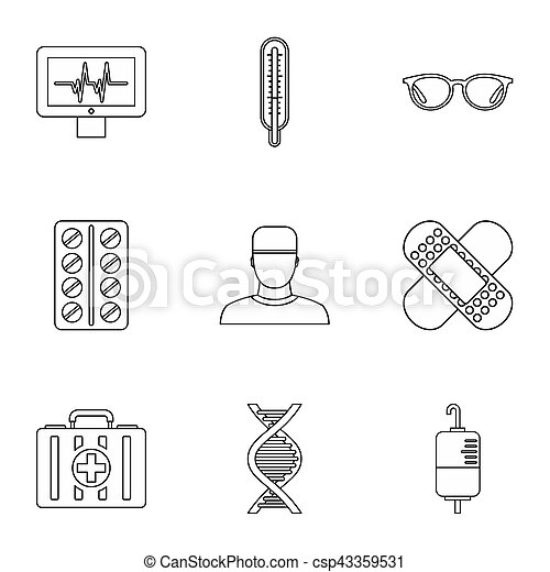 Healing icons set. Outline illustration of 9 healing icons for web