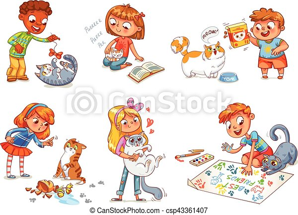 Vector Clipart of Child care for cat. Vector illustration - Boy ...