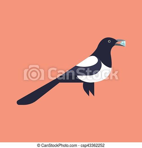 Vector illustration of magpie holding diamond - csp43362252