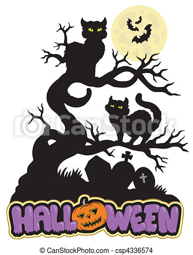 Halloween sign with cats - csp4336574