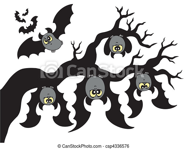 Cartoon bats hanging on branch - csp4336576