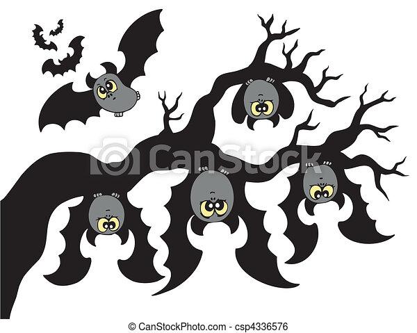 Cartoon bats hanging on branch - csp4336576